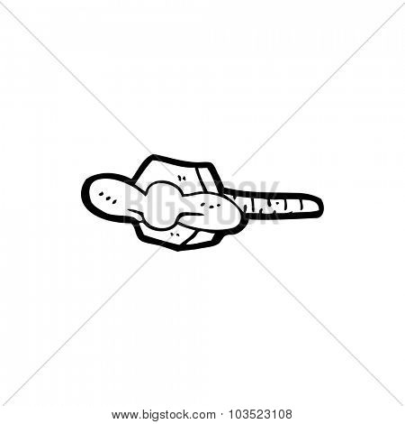 simple black and white line drawing cartoon  nut and bolt