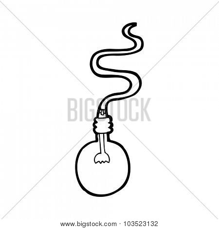simple black and white line drawing cartoon  light bulb