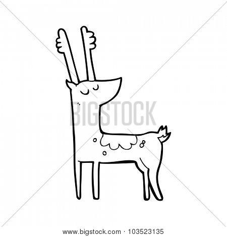 simple black and white line drawing cartoon  deer