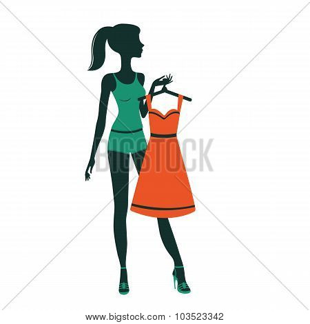 An illustration of a pretty girl getting dressed