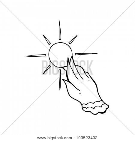 simple black and white line drawing cartoon  hand reaching for sun