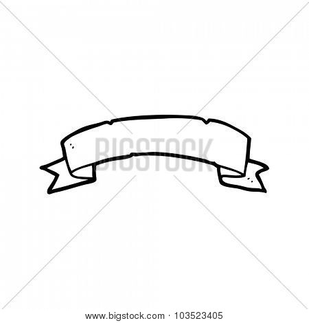simple black and white line drawing cartoon  tattoo scroll banner