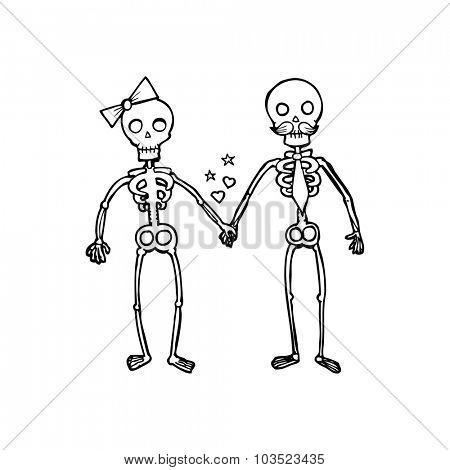simple black and white line drawing cartoon  skeletons in love