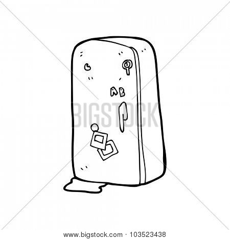 simple black and white line drawing cartoon  refrigerator