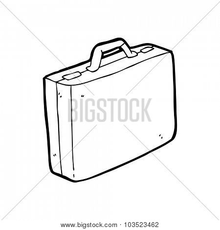 simple black and white line drawing cartoon  briefcase