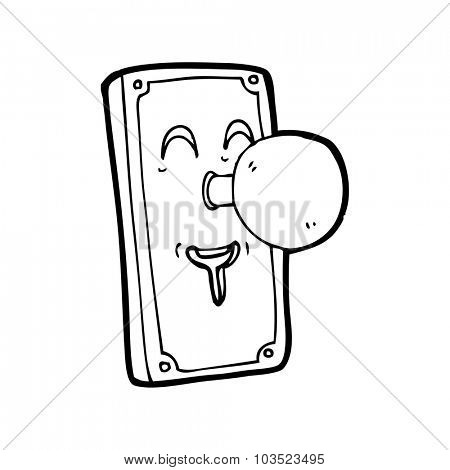simple black and white line drawing cartoon  door knob