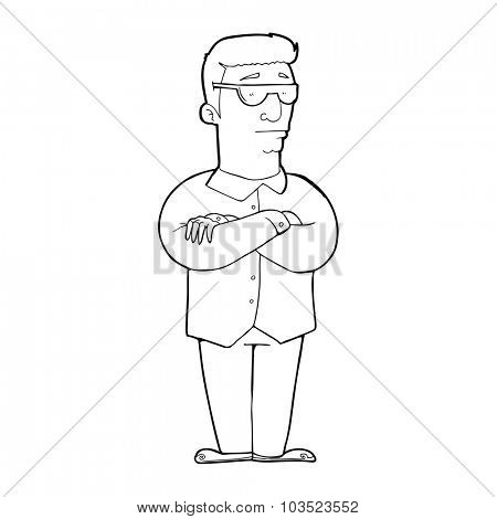 simple black and white line drawing cartoon  security guy