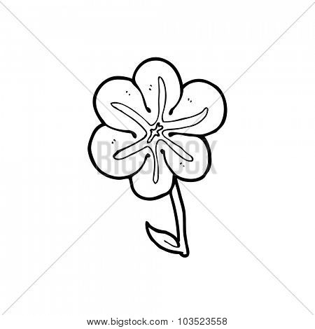 simple black and white line drawing cartoon  flower