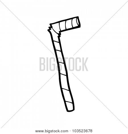 simple black and white line drawing cartoon  striped straw