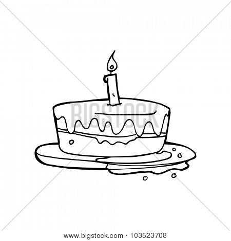 simple black and white line drawing cartoon  cake