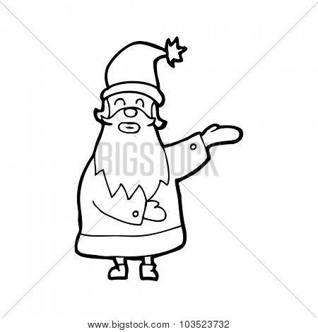 simple black and white line drawing cartoon  santa