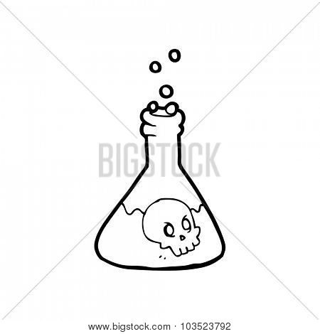simple black and white line drawing cartoon  spooky potion