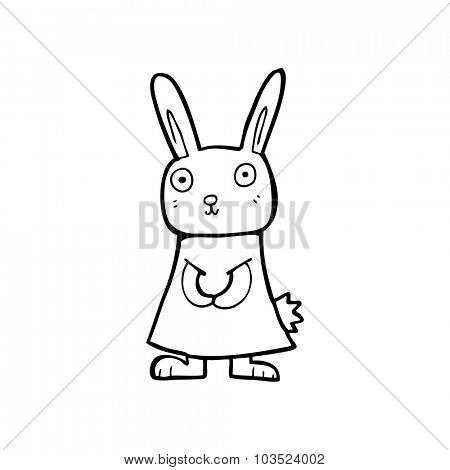 simple black and white line drawing cartoon  rabbit