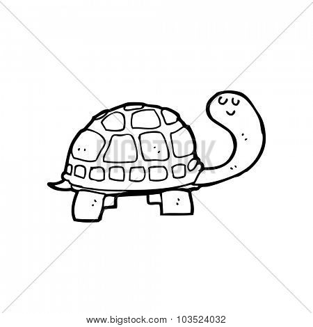 simple black and white line drawing cartoon  happy tortoise