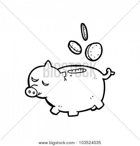 simple black and white line drawing cartoon  piggy bank