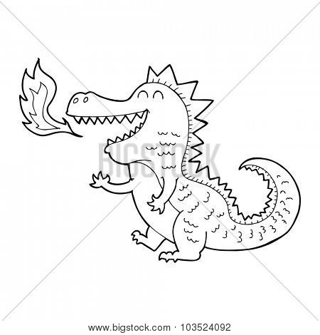 simple black and white line drawing cartoon  fire breathing dragon