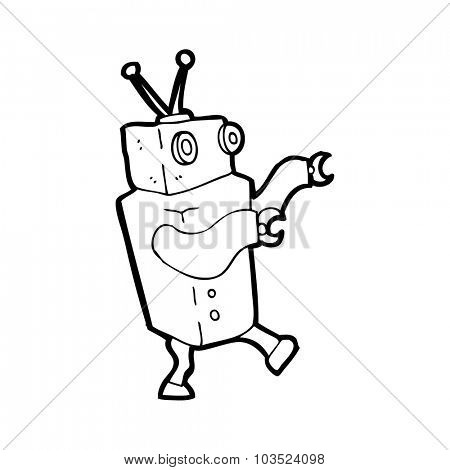 simple black and white line drawing cartoon  robot