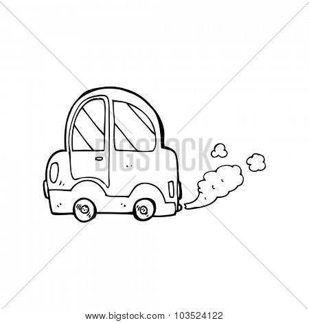 simple black and white line drawing cartoon  car