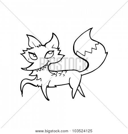 simple black and white line drawing cartoon  fox