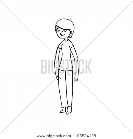 simple black and white line drawing cartoon  woman