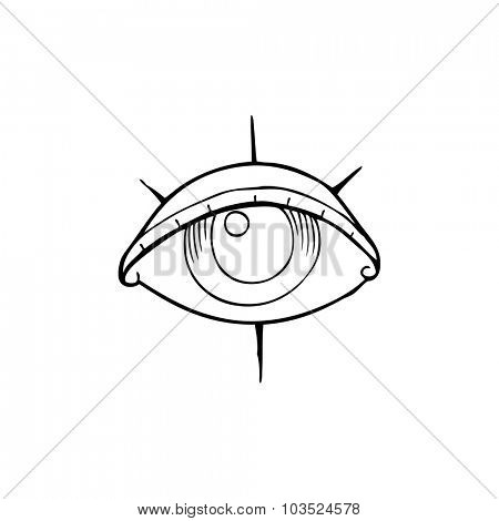simple black and white line drawing cartoon  tattoo eye symbol