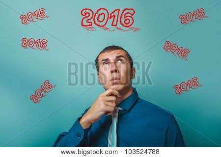 2016 businessman man thinking looking up portrait of two thousan