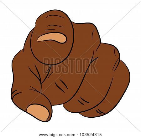 Image Of Cartoon Black Man, Negro Human Hand Gesture Pointing At You. Vector Illustration Isolated O