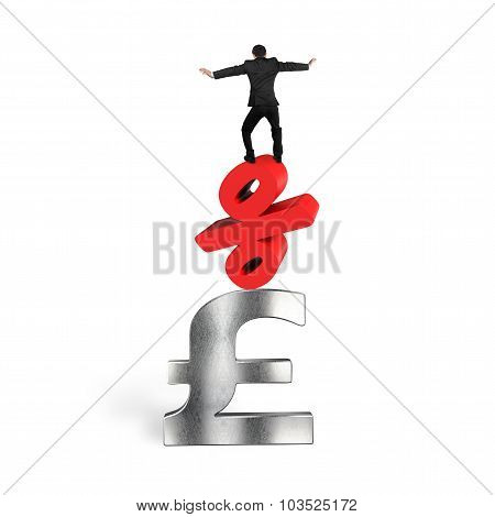 Businessman Balancing On Red Percent Sign Pound Sterling Symbol