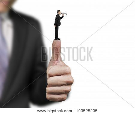 Businessman Using Speaker Shouting On Another Man Big Hand Thumb