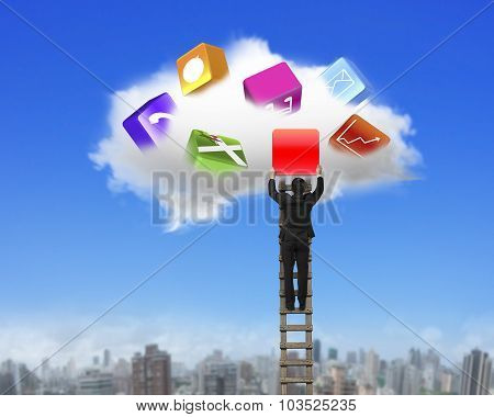 Businessman Climbing Ladder Getting Blank Red Icon From Cloud.