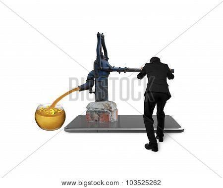 Businessman Drawing Out Currency Symbols Retro Pump Smart Tablet