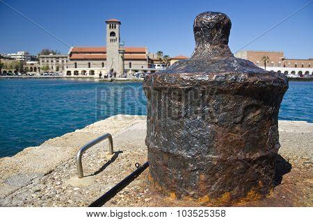 Old Iron Bollard In Greek Harbor