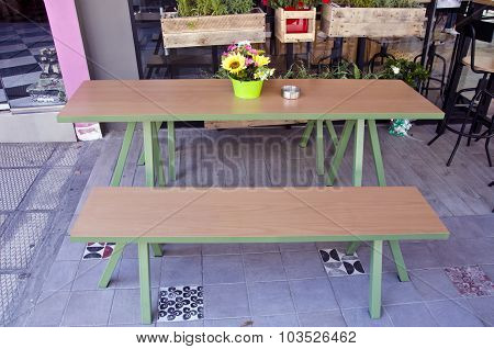 A Table With A Bench