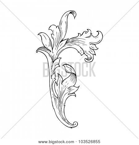 traditional hand drawn floral swirl