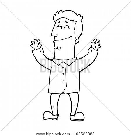 simple black and white line drawing cartoon  happy man