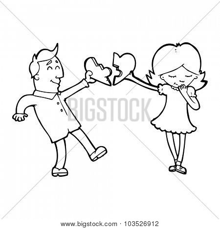 simple black and white line drawing cartoon  couple in love