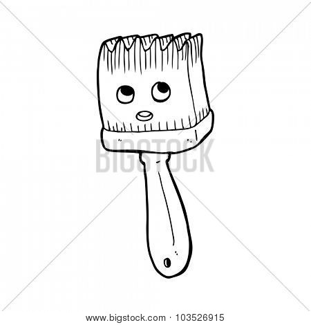 simple black and white line drawing cartoon  brush