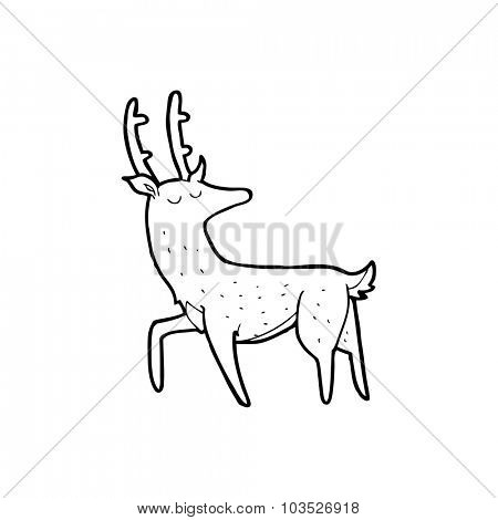 simple black and white line drawing cartoon  stag
