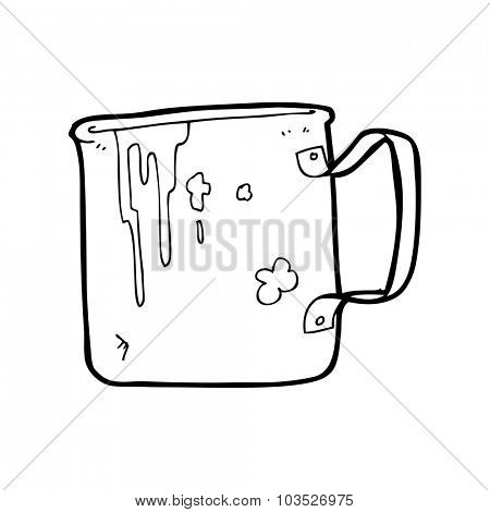simple black and white line drawing cartoon  old tin cup