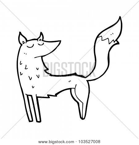 simple black and white line drawing cartoon  wolf