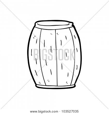 simple black and white line drawing cartoon  beer barrel