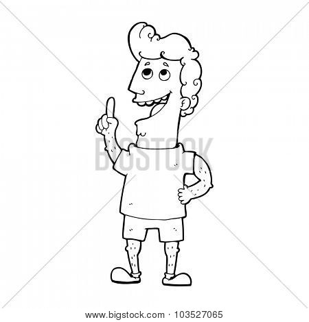 simple black and white line drawing cartoon  man with idea