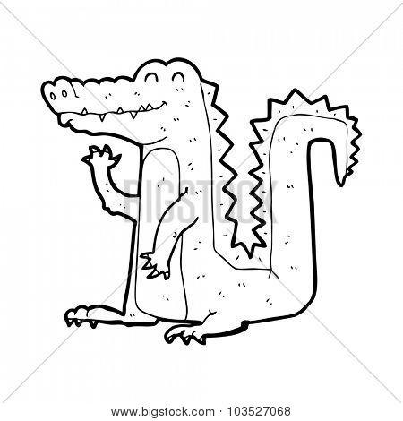 simple black and white line drawing cartoon  crocodile