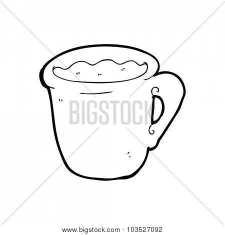 simple black and white line drawing cartoon  coffee mug