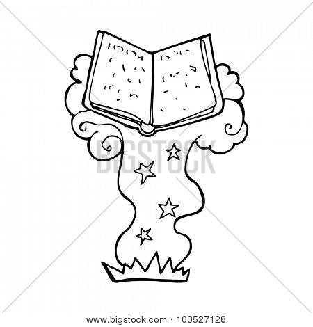 simple black and white line drawing cartoon  magic spell book
