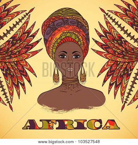 Beautiful African woman in turban and abstract palm leaves with ethnic geometric ornament. Hand draw