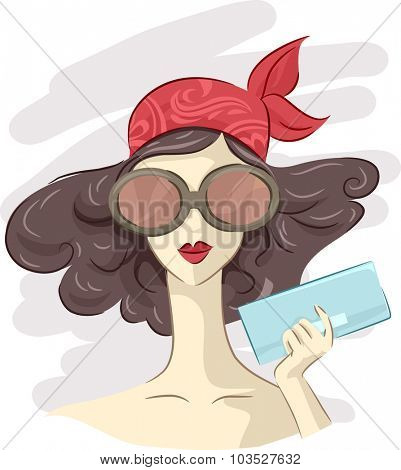 Illustration of a Fashionable Girl Holding a Chic Clutch Bag