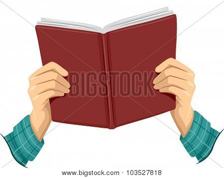 Cropped Illustration of a Boy Holding an Open Book