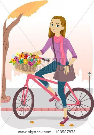 Illustration of a Girl Riding a Bike with a Basket Full of Flowers