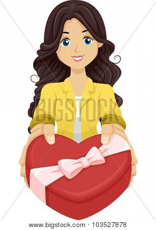 Illustration of a Girl Handing Over a Heart Shaped Box Filled with Chocolates